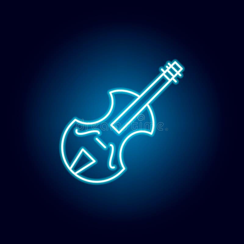 skrzypce, muzycznego instrumentu konturu ikona w neonowym stylu elementy edukacji ilustracji linii ikona znaki, symbole mogą używ royalty ilustracja