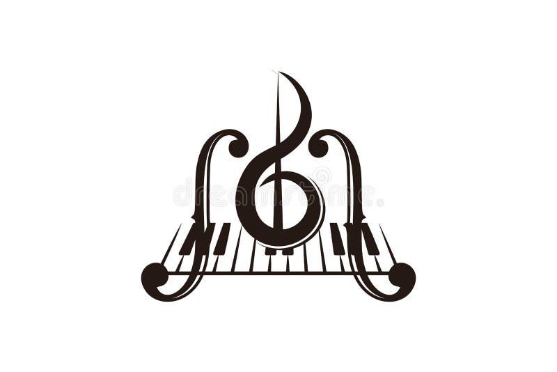 skrzypce, pianino klucz, instrumentu muzycznego logo ilustracji