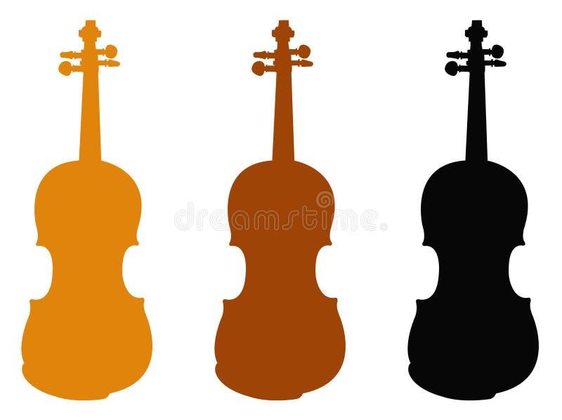 Skrzypcowa sylwetka - skrzypki, jest drewnianym smyczkowym instrumentem w skrzypcowej rodzinie ilustracja wektor