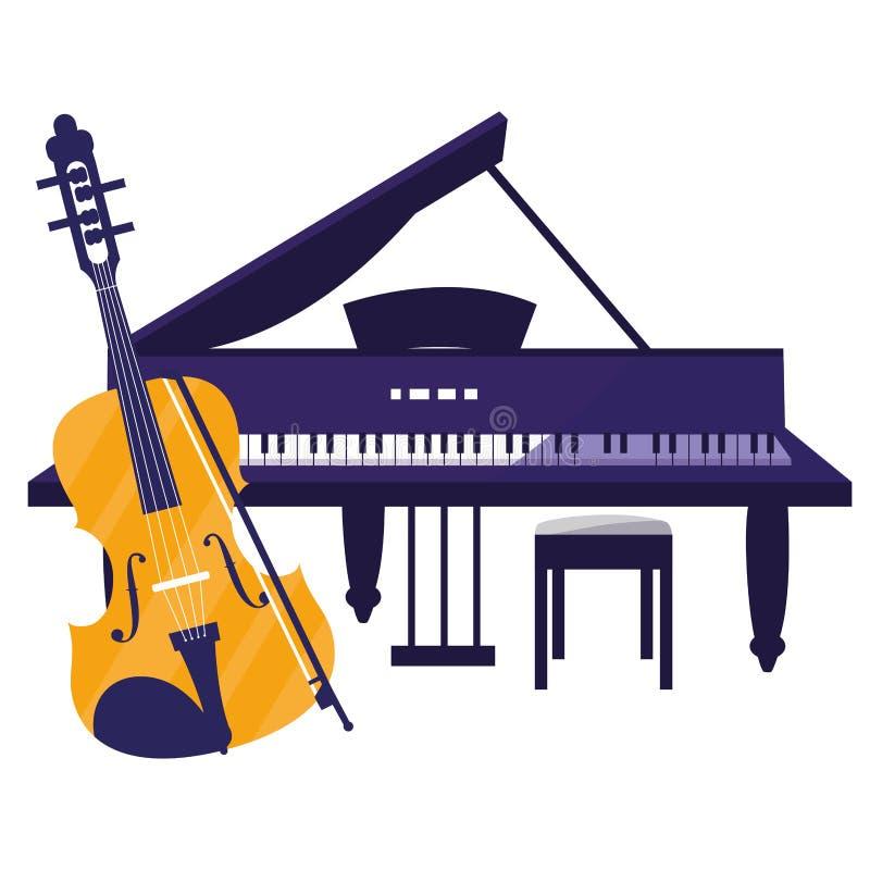 Skrzypki i uroczystego pianina instrumenty ilustracja wektor