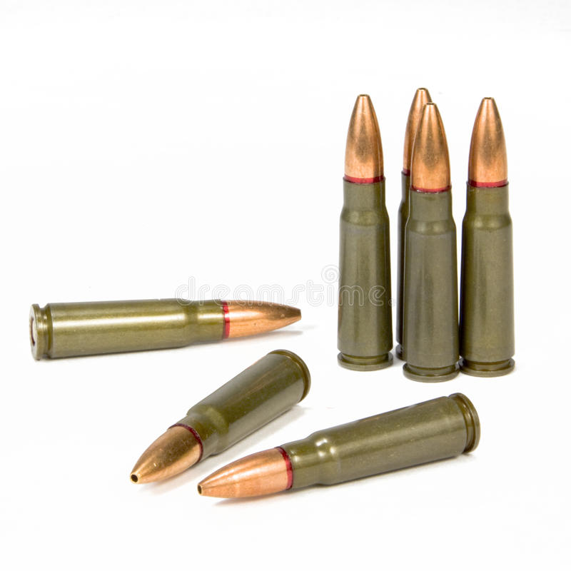 SKS Assault Rifle Bullets. 7.62x39mm full metal jacket Berdan Primed SKS assault rifle bullets royalty free stock image