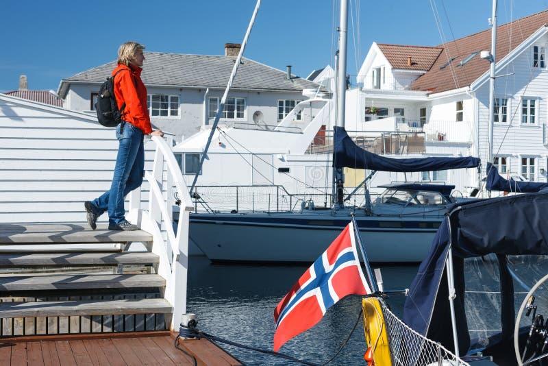 Skudeneshavn by i Norge arkivbild
