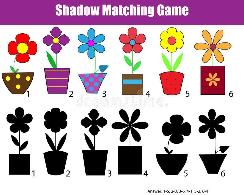 Skugga att matcha barn den bildande leken, ungeaktivitetsark stock illustrationer
