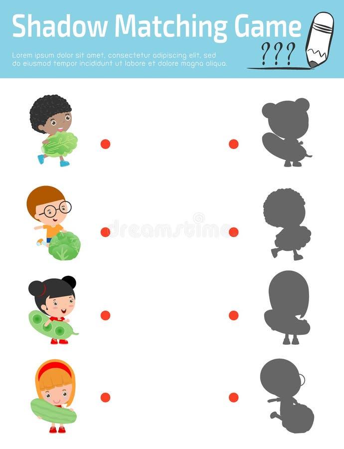 Skugga att matcha leken för ungar, visuellt hjälpmedelleken för unge Förbind prickarna bilden, utbildningsvektorillustration Lyck stock illustrationer