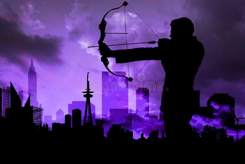 Skugga av bågskyttespelaren framme av purpurfärgad himmelbakgrund royaltyfri illustrationer