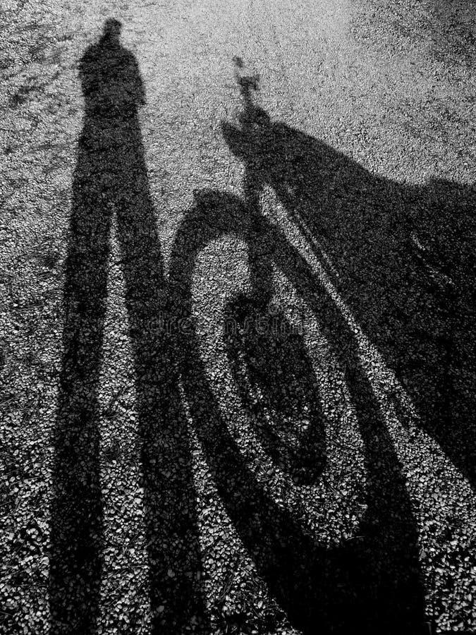 Skugga av en motorcykel med chauffören royaltyfri bild