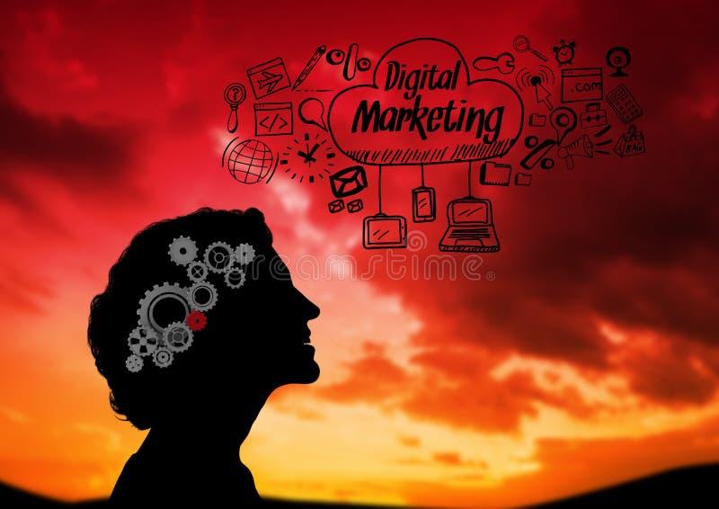 Skugga av kvinnan som ser det himmel- och Digital marknadsföringsdiagrammet stock illustrationer