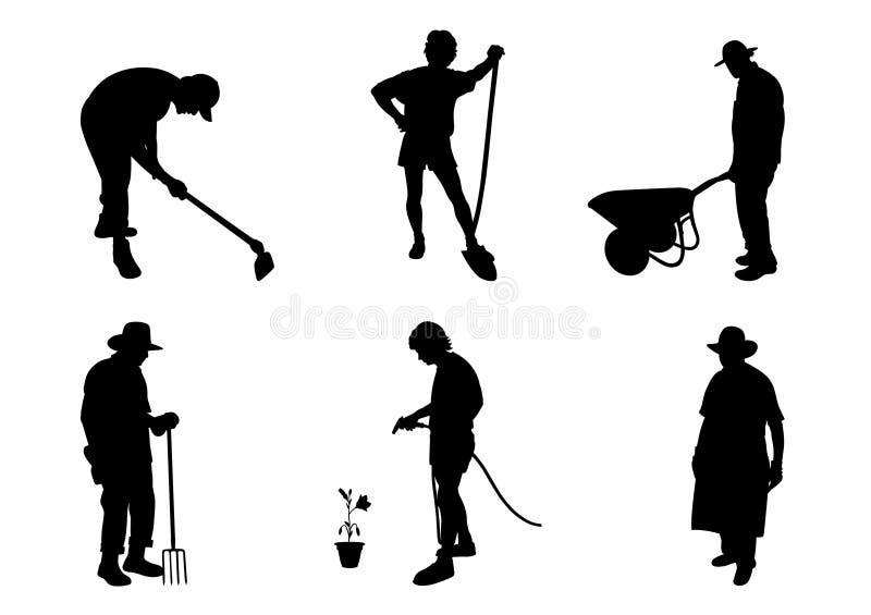 Skugga av sex trädgårdsmästare stock illustrationer