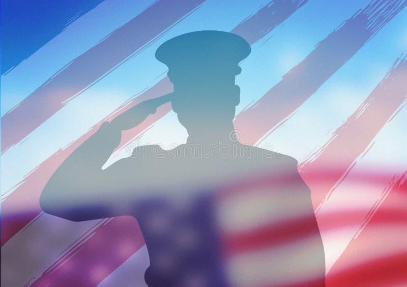 Skugga av soldaten framme av amerikanska flaggan arkivbild