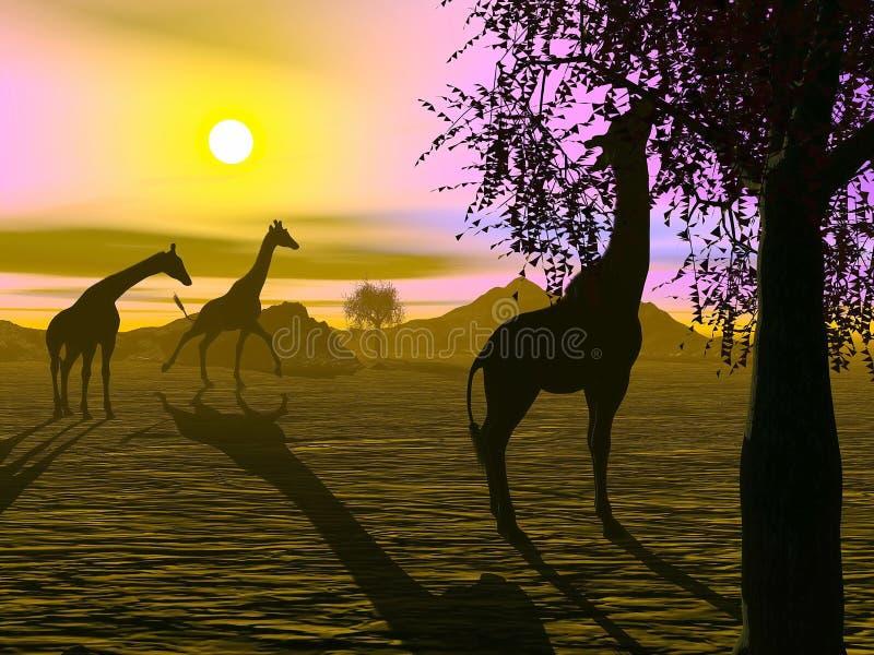 Giraff vid solnedgång - 3D framför royaltyfri illustrationer