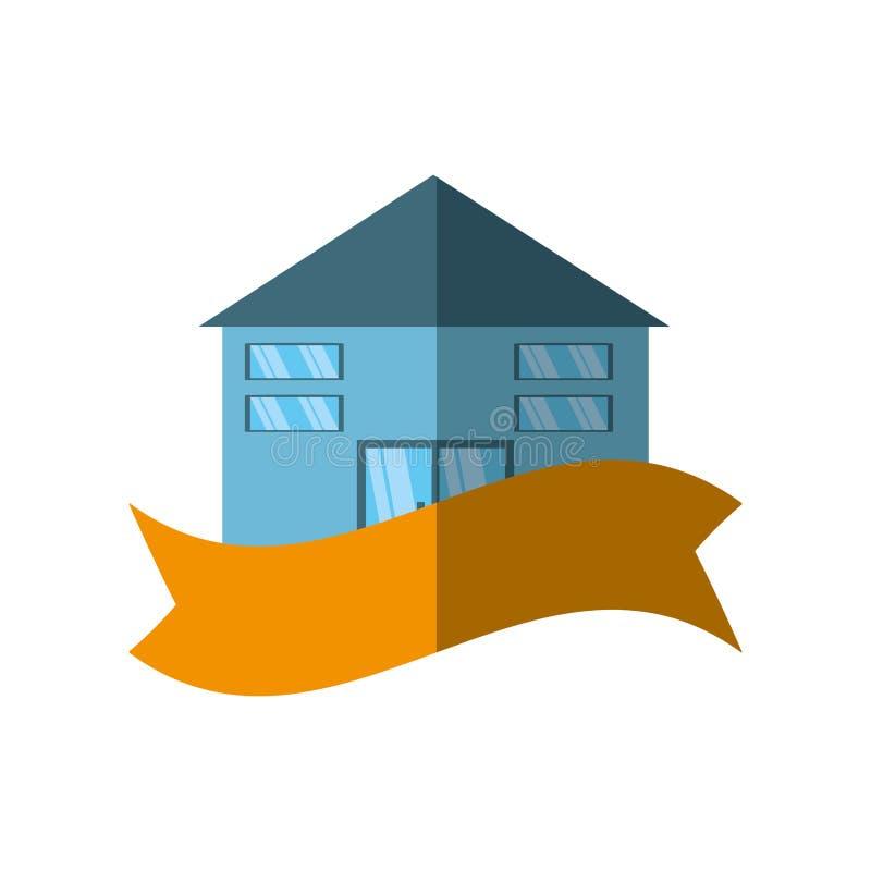 skugga för band för fastighetbyggnadsemblem royaltyfri illustrationer