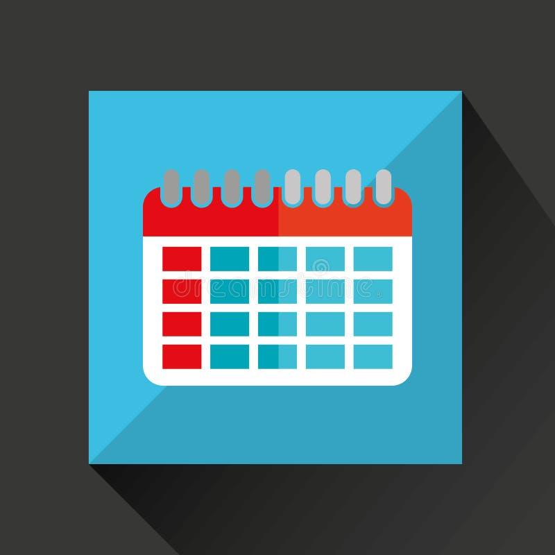 skugga för dag för kalendertecknad filmdatum och blåttbakgrund stock illustrationer
