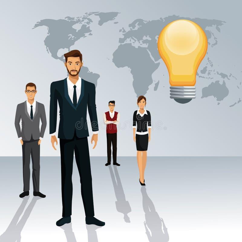 Skugga för idé för värld för teamwork för affärsfolk idérik vektor illustrationer