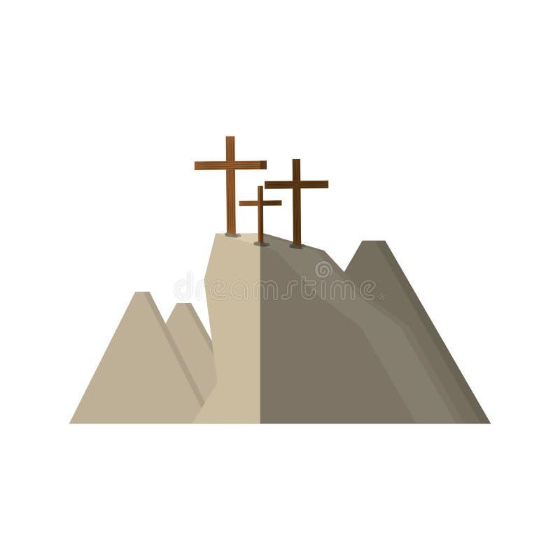 skugga för kors för golgothakulle tre royaltyfri illustrationer