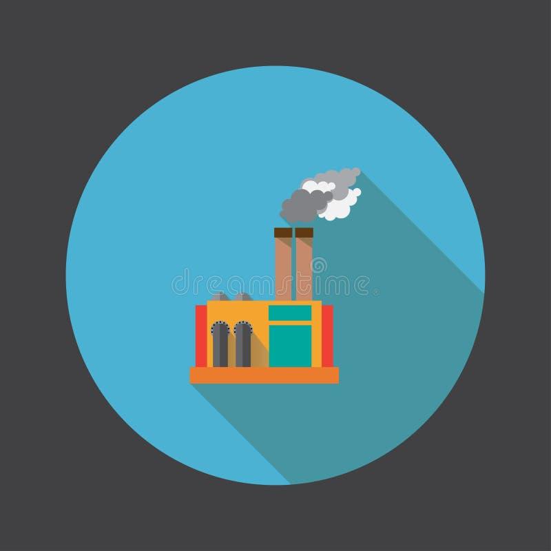 Skugga för plan symbol för fabrik lång vektor illustration royaltyfri illustrationer