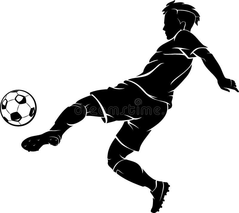 Skugga för spark för fotbollspelare vänster royaltyfri illustrationer