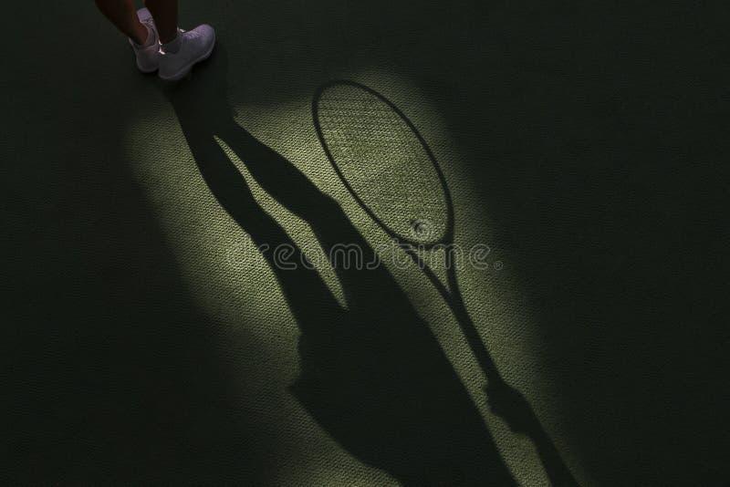 Skugga för tenniskonkurrensbegrepp av hållande racketplayin för kvinna royaltyfria bilder