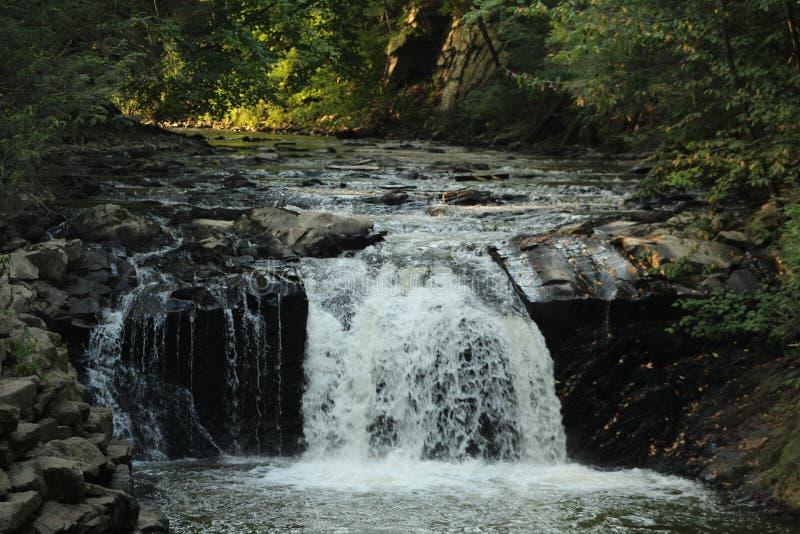Skuggade Rocky Waterfall fotografering för bildbyråer