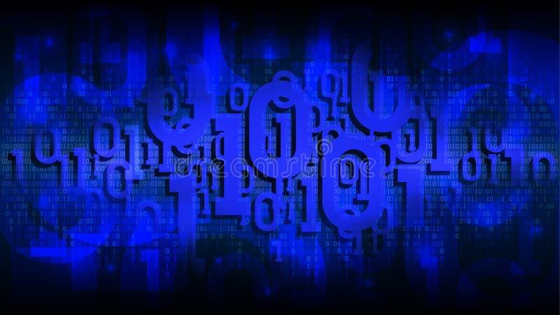 Skuggar blå bakgrund för matrisen med binär kod, digital kod i abstrakt futuristisk cyberspace, molnet av stora data vektor illustrationer