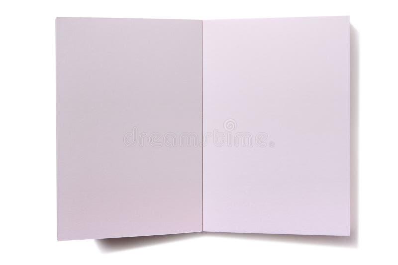 Skuggar isolerade öppna sidor för den vanliga vitmellanrumsboken royaltyfri fotografi