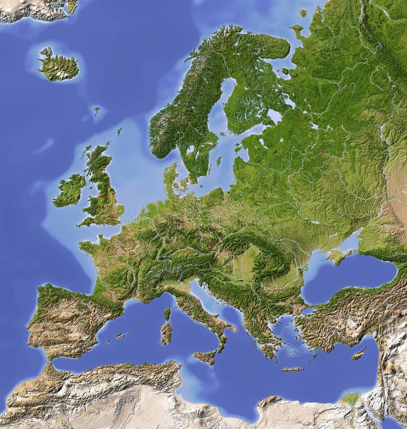 skuggning Europa översiktslättnad stock illustrationer
