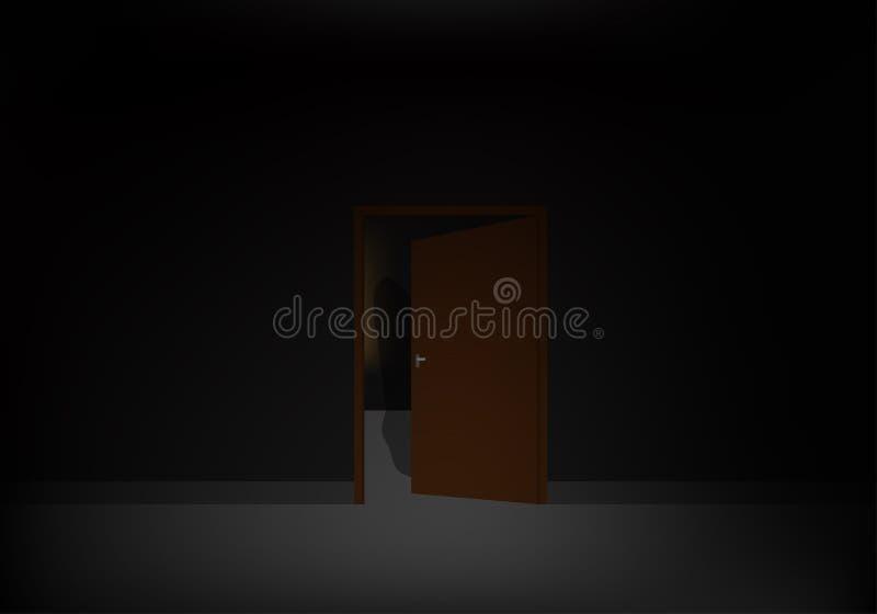 Skuggor bak den öppna dörren arkivfoton
