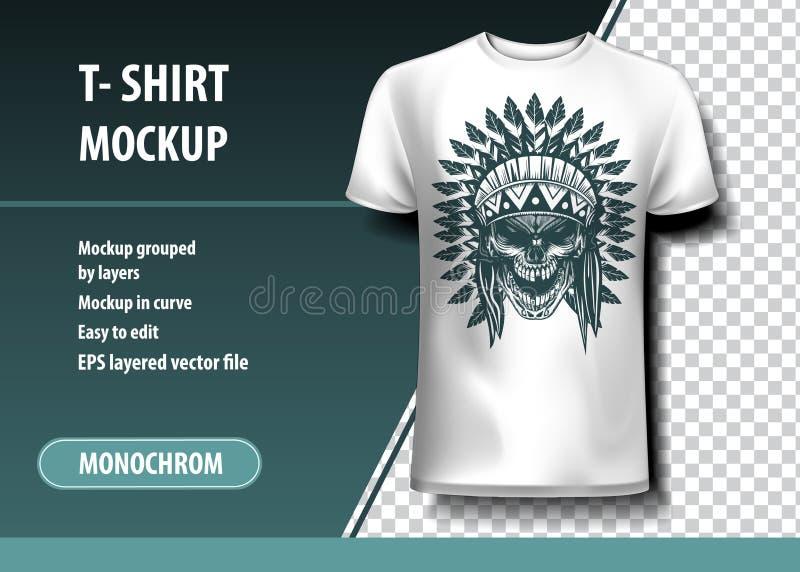 Skul του ινδικού πολεμιστή Πρότυπο μπλουζών, πλήρως editable διανυσματική απεικόνιση