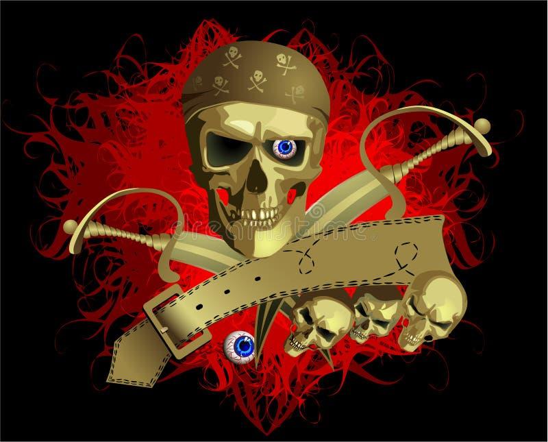 Skul da pirataria ilustração royalty free