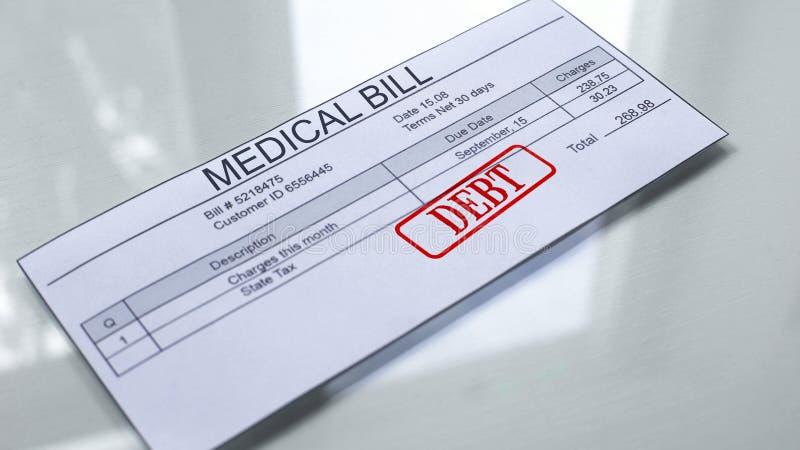 Skuld för medicinsk räkning, skyddsremsa som stämplas på dokumentet, betalning för service, tariff arkivfoto