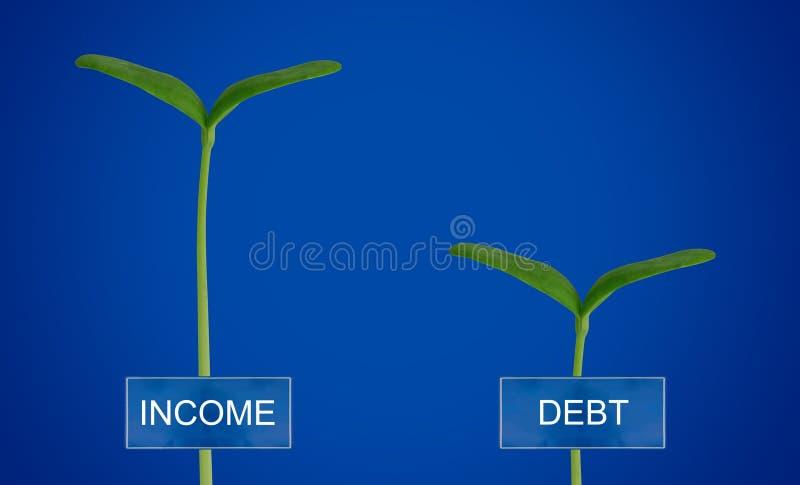 Skuld och inkomst Conccept arkivbild