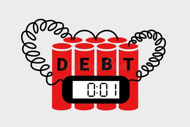 Skulden och vara tack skyldig ekonomi som sprängmedlet bombarderar att leda som kollapsar, sammanbrottet, finanskris och konkurs stock illustrationer