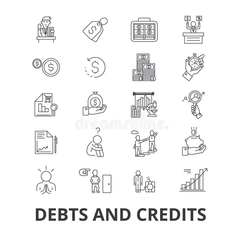Skulder och krediteringar, pengar, konkurs, räkning, rikedom, finans, finansiell samlarelinje symboler Redigerbara slaglängder pl royaltyfri illustrationer