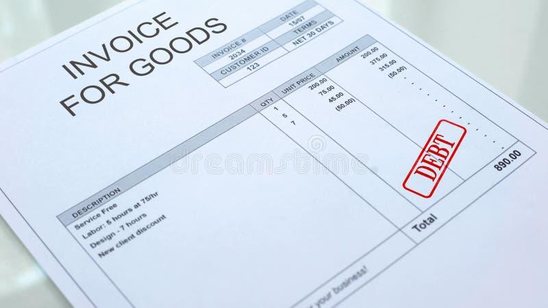 Skuldskyddsremsa som stämplas på fakturan för godsdokumentet, affärsbetalning som krediterar stock illustrationer