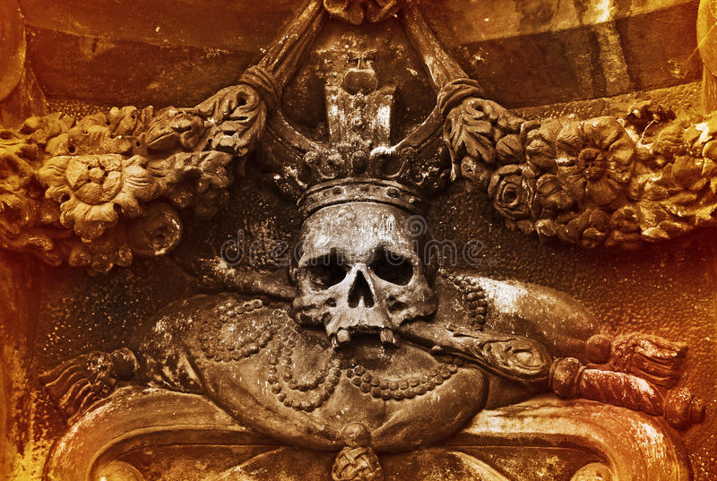 The skull. Architectonic detail with the skull, Prague royalty free stock photos