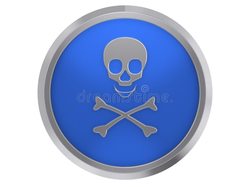 Skull. Blue skull button with metal frame on white background stock illustration