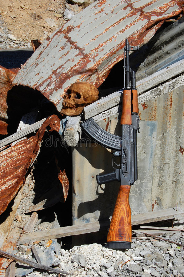 Skull and ak47 stock images
