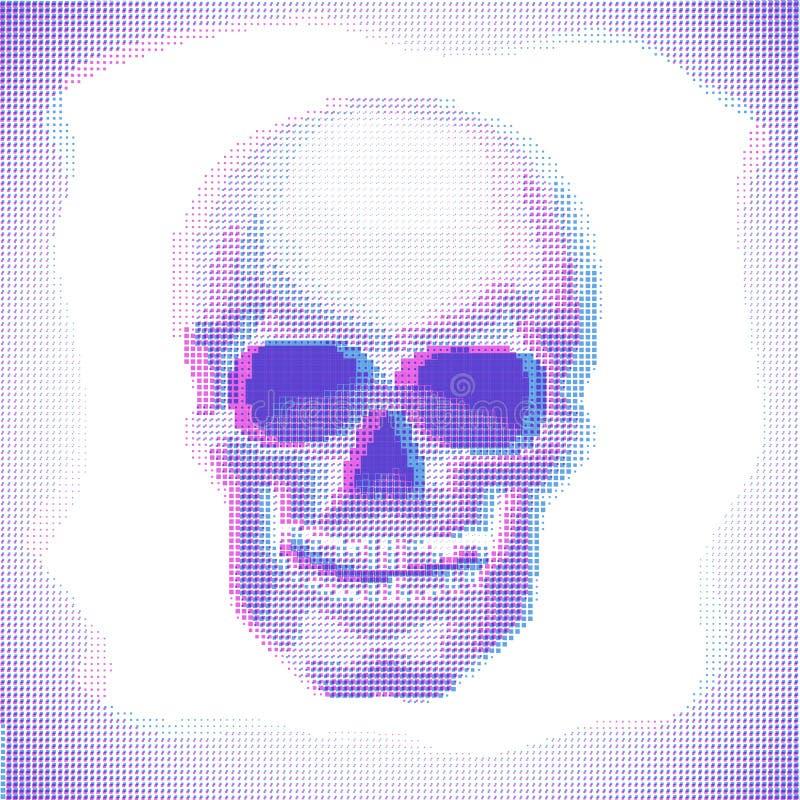 Skull Anaglyph effect vector halftone image. Cyberpunk Skull Anaglyph effect vector halftone image stock illustration