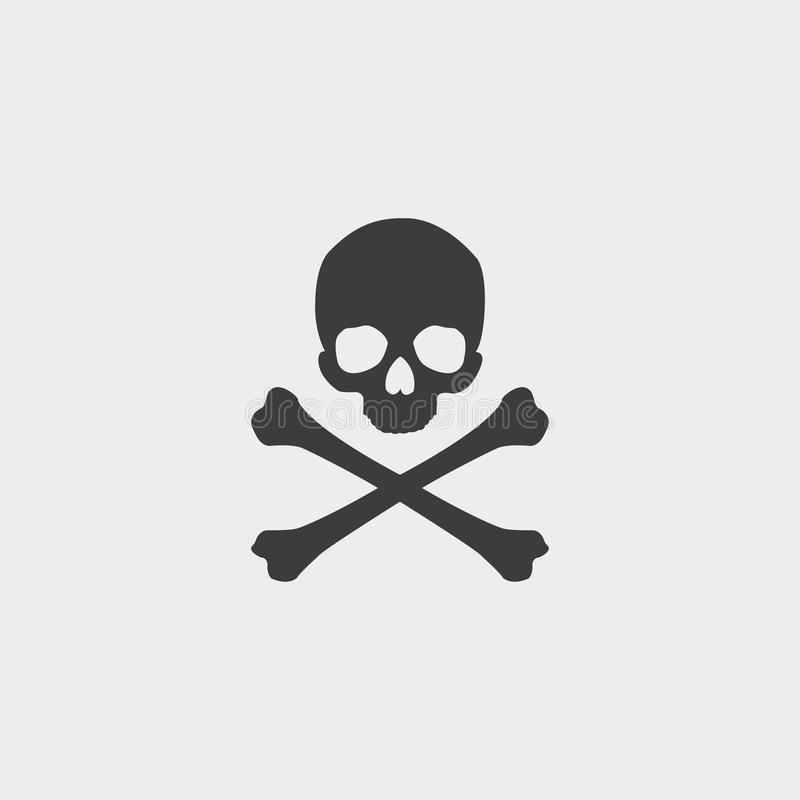 Free Skull And Crossbones Icon In A Flat Design In Black Color. Vector Illustration Eps10 Stock Images - 83897884