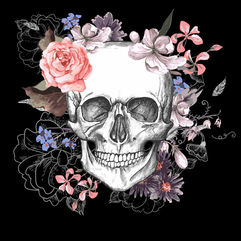 Free Skull And Flowers Day Of The Dead Royalty Free Stock Image - 51581886