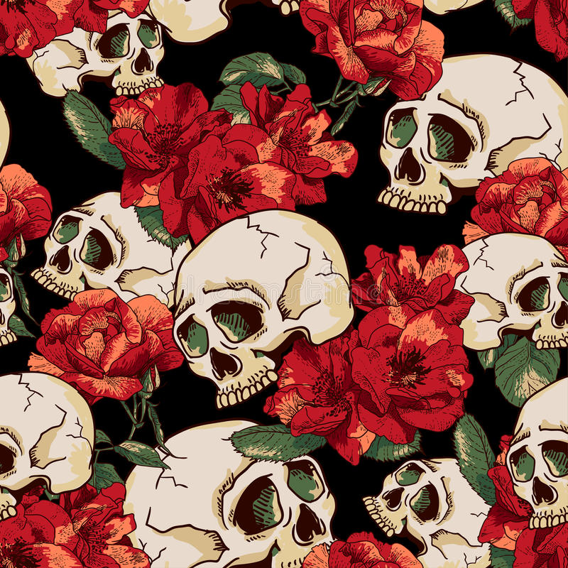 Free Skull And Flowers Seamless Background Royalty Free Stock Photography - 41410357
