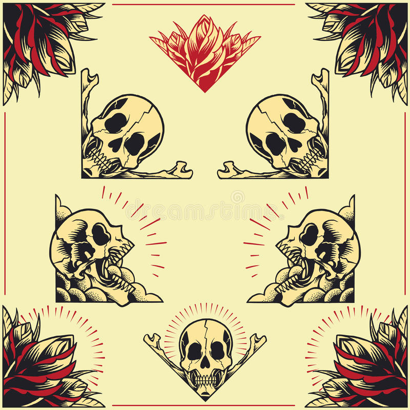 Free Skull And Rose Frames Set 01 Stock Photo - 44273940