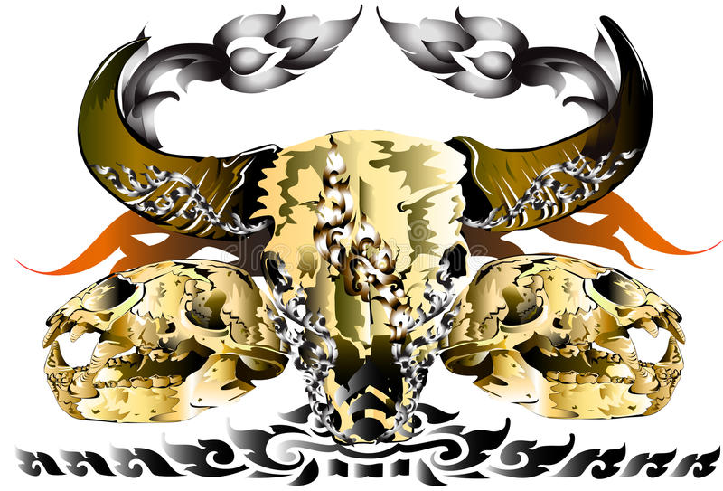Skull animall idea art. Creative style graphics cranial The skull of Buffalo and Tigers brought the finishing line thai tattoo design and decorating style ideas stock illustration