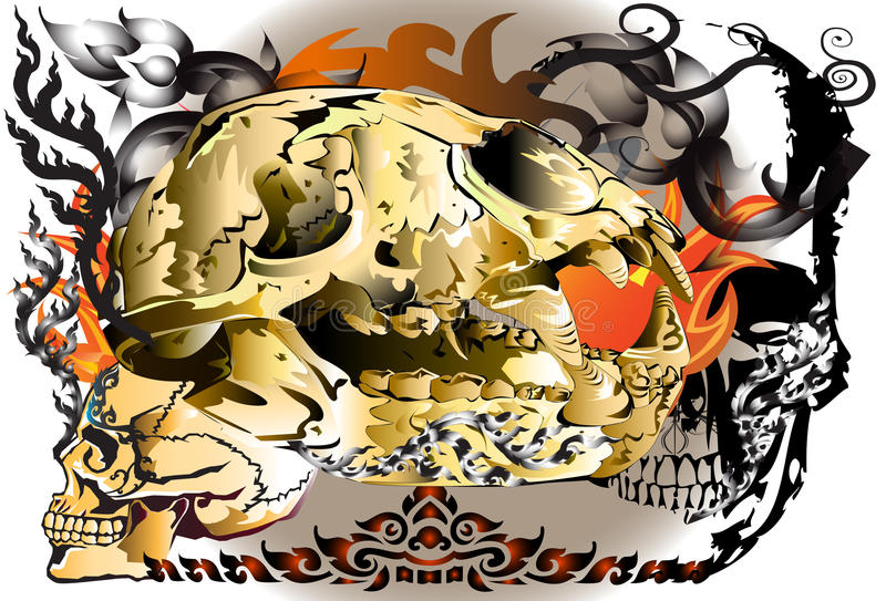 Skull animall and skull man. Creative style graphics cranial The skull of animal and Tigers brought the finishing line thai tattoo design and decorating style vector illustration