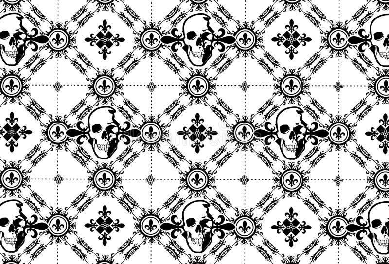 Skull Argyle Pattern with Fleur De Lys royalty free stock photo