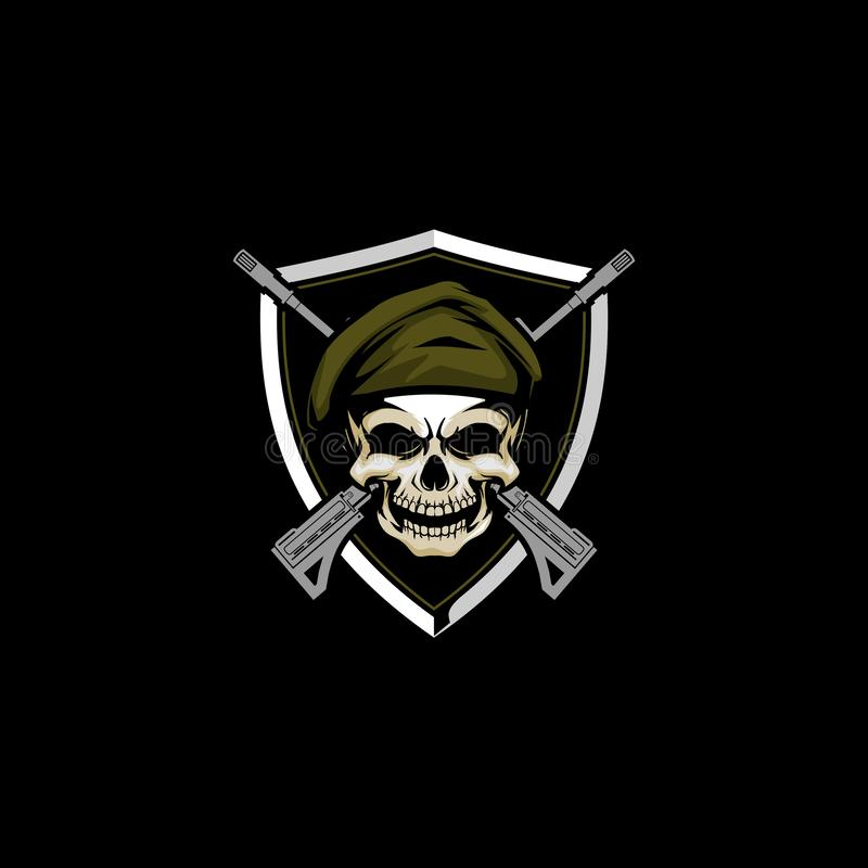 Skull army head with cross rifle and shield vector badge logo template stock illustration