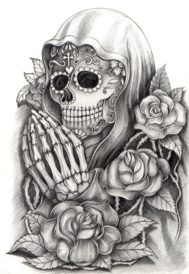 Skull Art Day Of The Dead .Hand Drawing On Paper. Stock