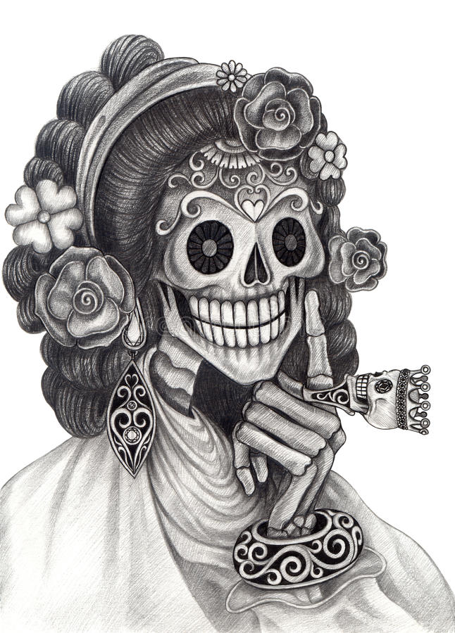 Skull art fashion model day of the dead stock for Day of the dead body jewelry
