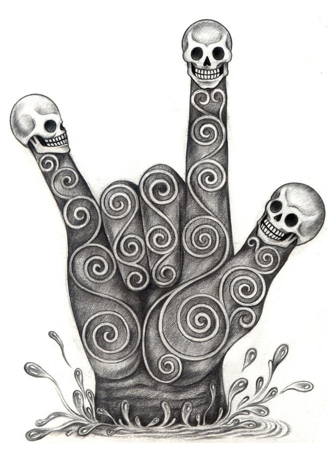 Free Skull Art Hand Symbol Love. Royalty Free Stock Photography - 56472477