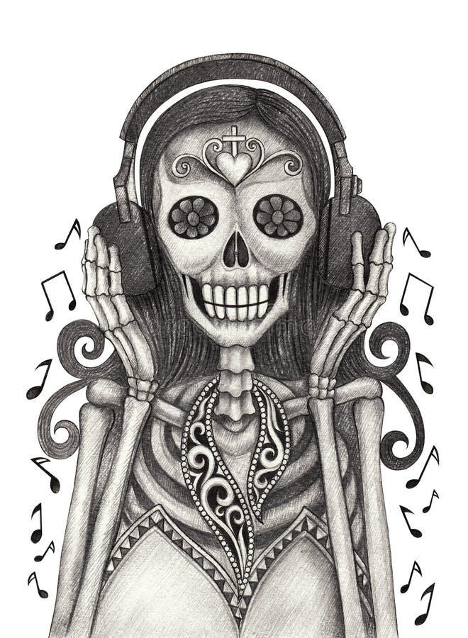Skull art listen to music day of the dead. stock illustration