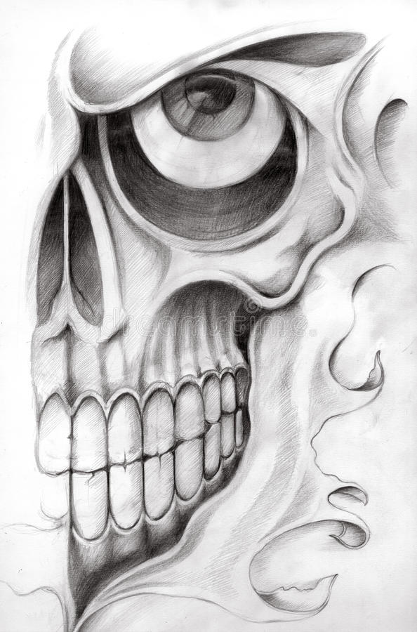 Skull art tattoo stock illustration illustration of face for Drawing tattoos on paper